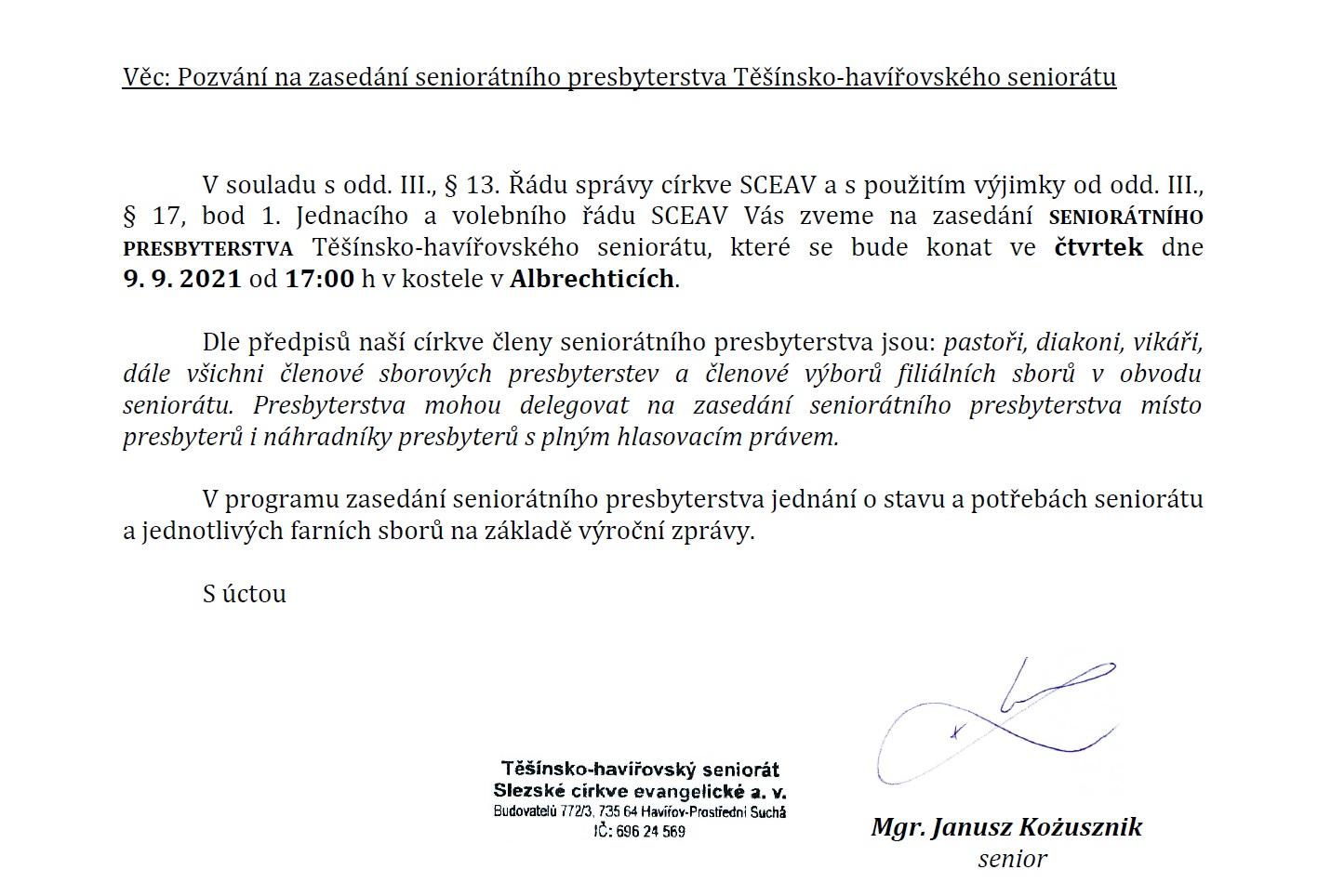 Sprawozdanie z życia i działalności Senioratu Cieszyńsko-Hawierzowskiego za rok 2020